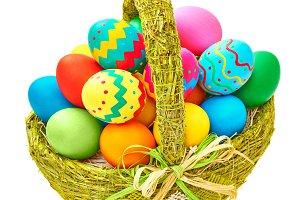 Easter painted eggs in basket