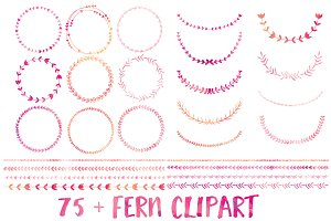 Watercolor Wreath & Laurel Clipart