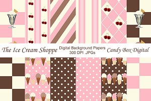 Retro Ice Cream Background Papers