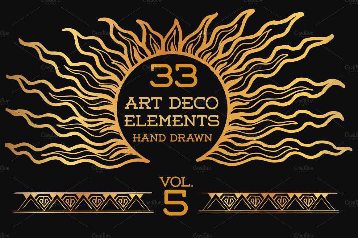 33 Hand Drawn Art Deco Elements Vol5 Illustrations