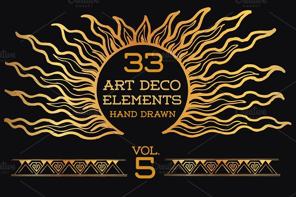 33 hand drawn art deco elements vol5 illustrations on