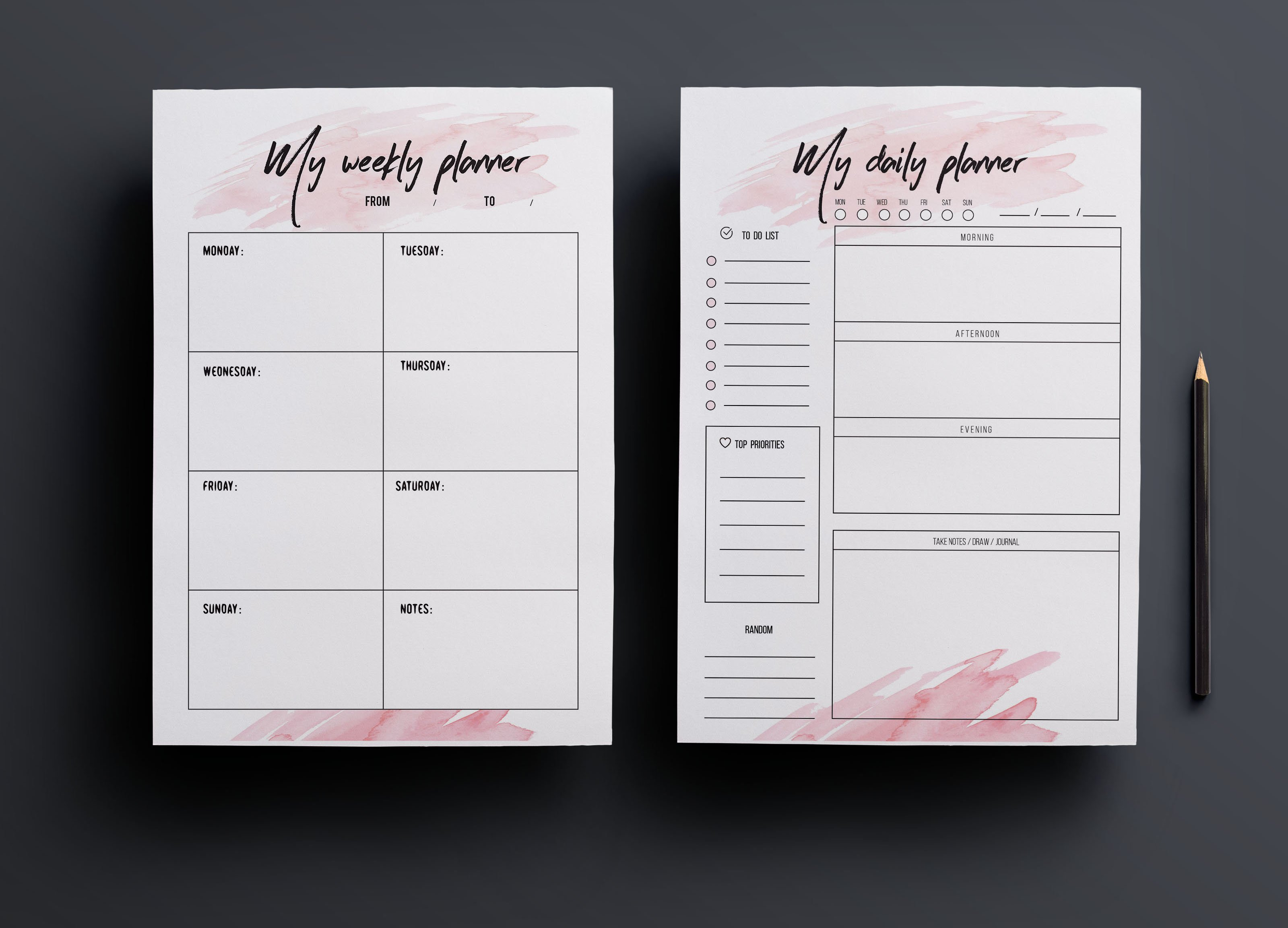 Weekly planner daily planner stationery templates for Planner design