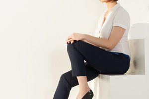 Relaxed businesswoman sitting