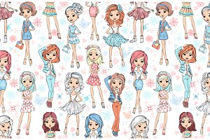Seamless pattern with fashion girls