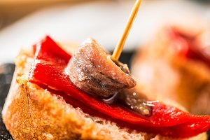Red pepper and anchovies