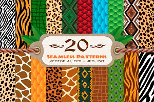 20 Animal Print Seamless Patterns