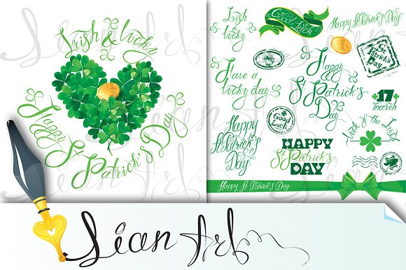 St. Patricks Day, Set of handwritten - Illustrations