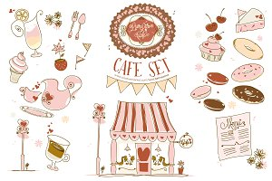 Hand-drawn Cafe Set - FREE Patterns