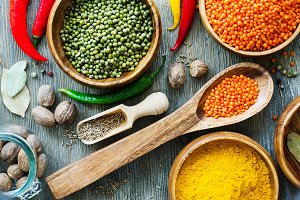 Lentils and spices for cooking