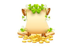 Vintage paper script and clover leaves saint patricks day