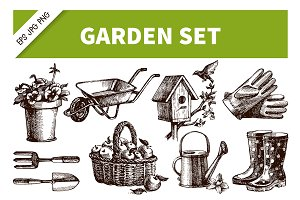 Hand Drawn Garden Vintage Set
