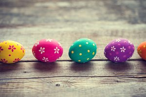 Colorful eggs on table.