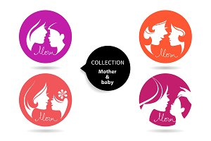4 Mother & Baby Silhouettes Icon Set