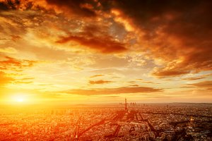 Panorama of Paris at sunset.