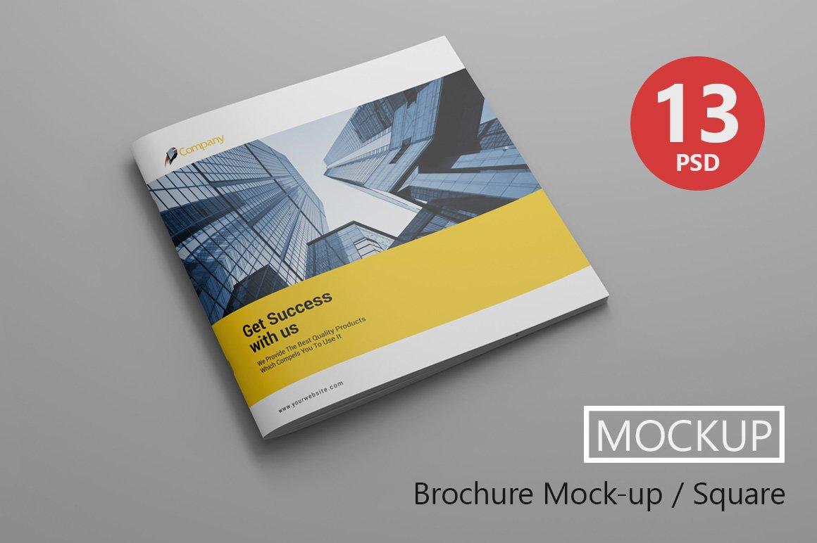 Brochure mock up square product mockups creative market for Brochure mockup template