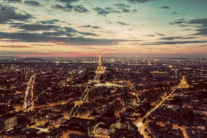 Paris at sunset, France.