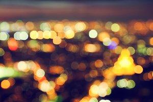 Blur of a big city lights at night.