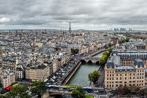 Panorama of Paris, France.