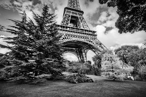 Eiffel Tower in black and white.