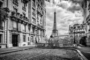 Eiffel Tower seen from the street.