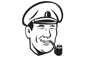 Sea Captain Smiling Smoke Pipe Retro
