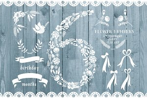 Floral number six, card invite