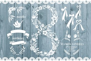 Floral number eight, card invite
