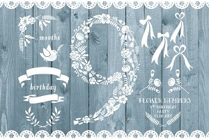 Floral number nine, card invite