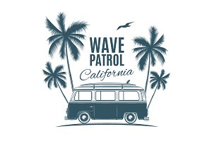 Vintage, retro surf van.