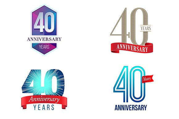40th Anniversary Symbol Illustrations Creative Market
