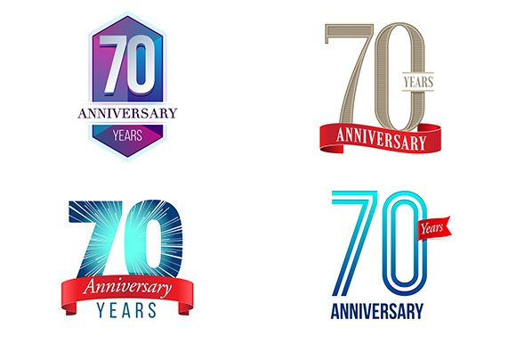 70th Anniversary Symbol Illustrations Creative Market
