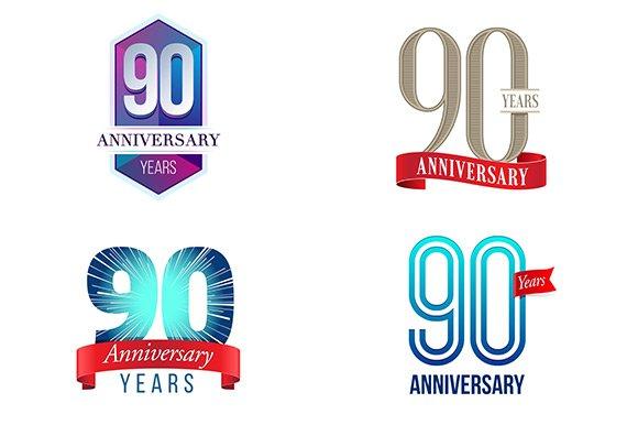 90th anniversary symbol illustrations creative market