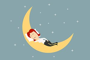 Businesswoman sleeping on the moon