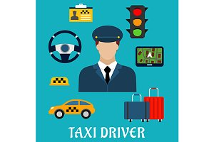 Taxi driver profession flat icons