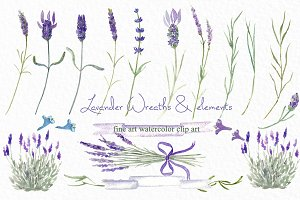 Lavender wreaths watercolor clipart