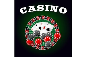 Gambling icon with aces and roulette