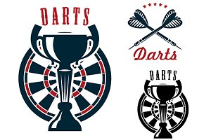 Darts symbols with dartboard and cup