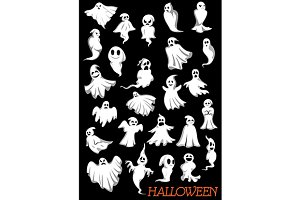 Big set of Halloween flying ghosts