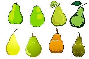 Green, yellow and orange pear fruits