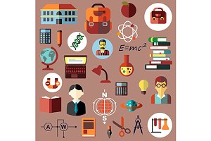 Education and science flat icons