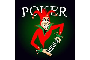 Cartoon joker with cards