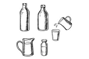 Bottles, jugs and glass of milk