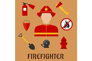 Firefighter or fireman flat icons