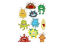 Cartoon monsters and aliens