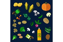 Vegetables and oil flat icons