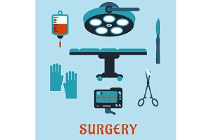 Surgery medicine flat icons
