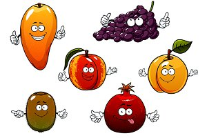 Cartoon ripe fruits