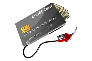 Credit card with money, gas nozzle