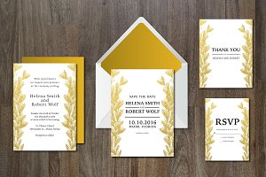 Wedding Invitation Suite Gold Leaves