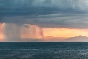 Rain clouds in distant plains